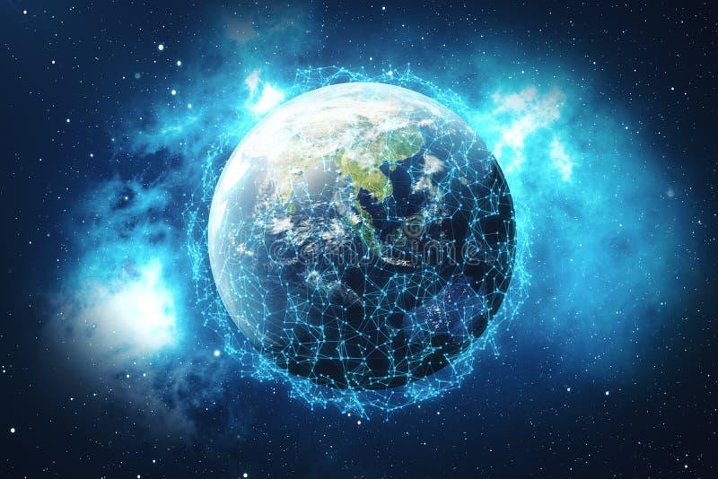 Wiedergabe 3D Netz und Datenaustausch über Planetenerde im Raum Verbindungslinien um Erdkugel global vektor abbildung