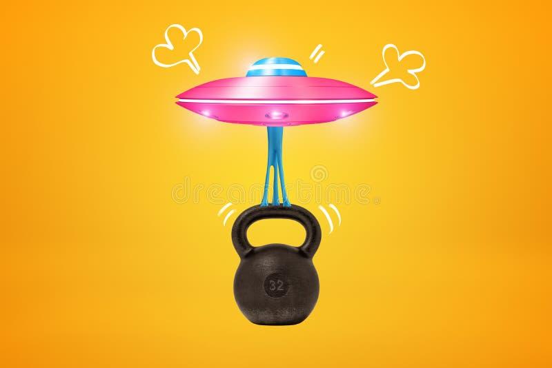 Wiedergabe 3d rosa Metall-UFO, das schweres schwarzes kettlebell mit blauem klebrigem Gummi auf gelbem Hintergrund anhebt vektor abbildung