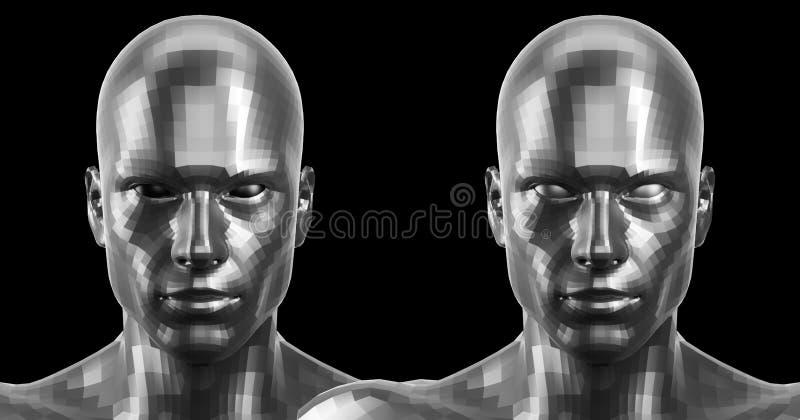 Wiedergabe 3d Silber zwei facettierte die androiden Köpfe, die auf Kamera vorder schauen stockbilder