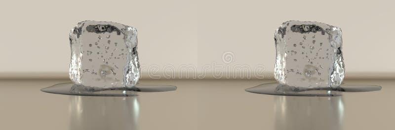 Wiedergabe 3d Stereolithographie nebeneinander Eiswürfel mit etwas Wasser lizenzfreies stockbild