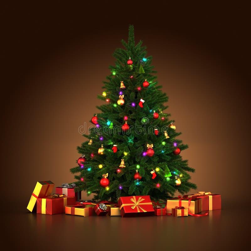 Wiedergabe 3d verzierte Weihnachtsbaum vektor abbildung