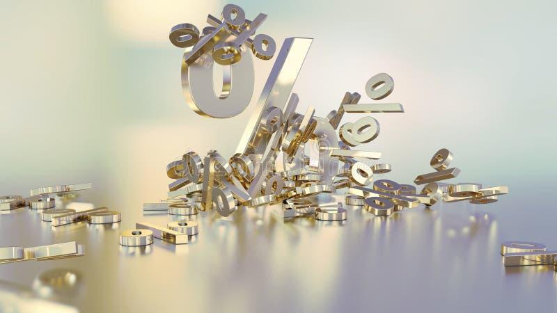 Wiedergabe 3D vieler Prozentzeichen, die in einen Haufen fallen Ein großes Prozentzeichen unter den kleinen Zeichen lizenzfreie abbildung