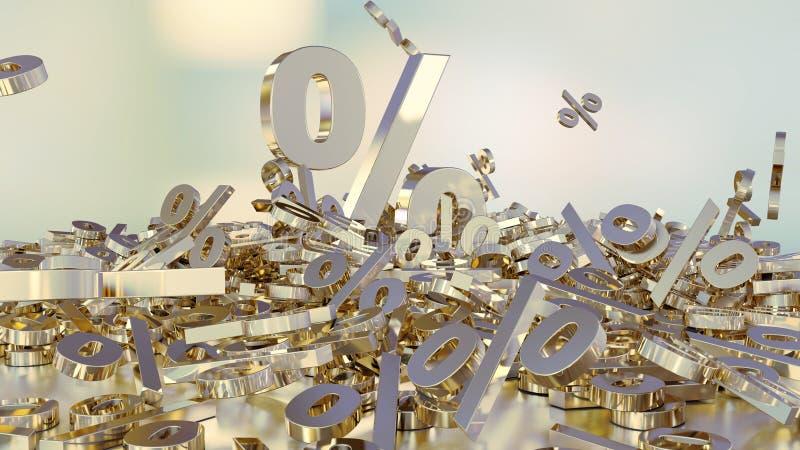 Wiedergabe 3D vieler Prozentzeichen, die in einen Haufen fallen Ein großes Prozentzeichen unter den kleinen Zeichen vektor abbildung