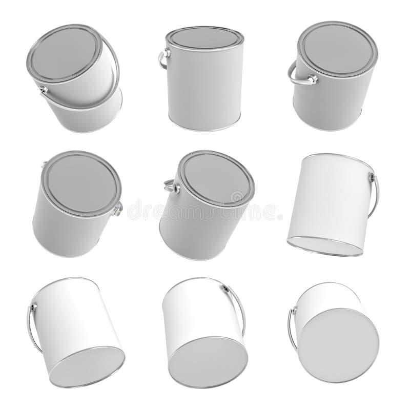 Wiedergabe 3d vieler ruhigen Farbeimer mit den Griffen und geschlossenen Deckeln lokalisiert auf einem weißen Hintergrund lizenzfreie abbildung