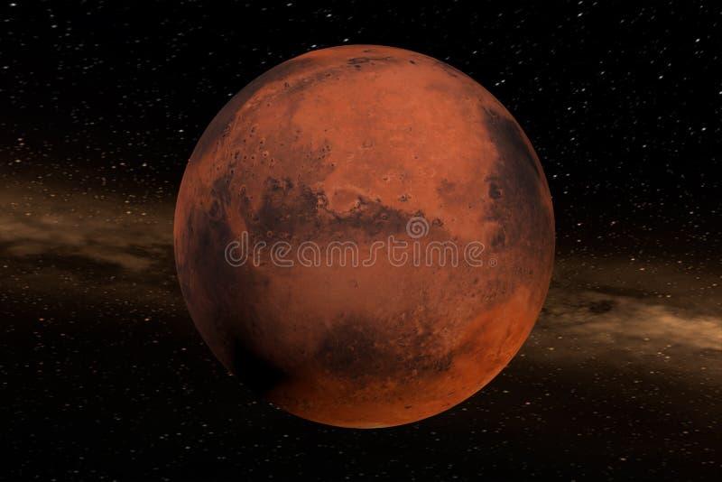 Wiedergabe 3d vom Planeten beschädigt mit Nebelfleck im Hintergrund, Elemente dieses Bildes werden versorgt von der NASA stock abbildung