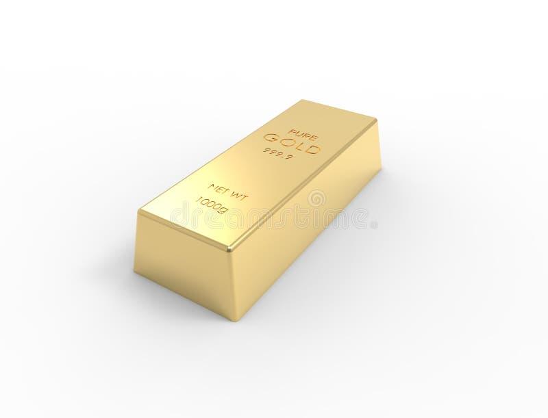 Wiedergabe 3D von den Goldbarren lokalisiert auf weißem Studiohintergrund lizenzfreie abbildung