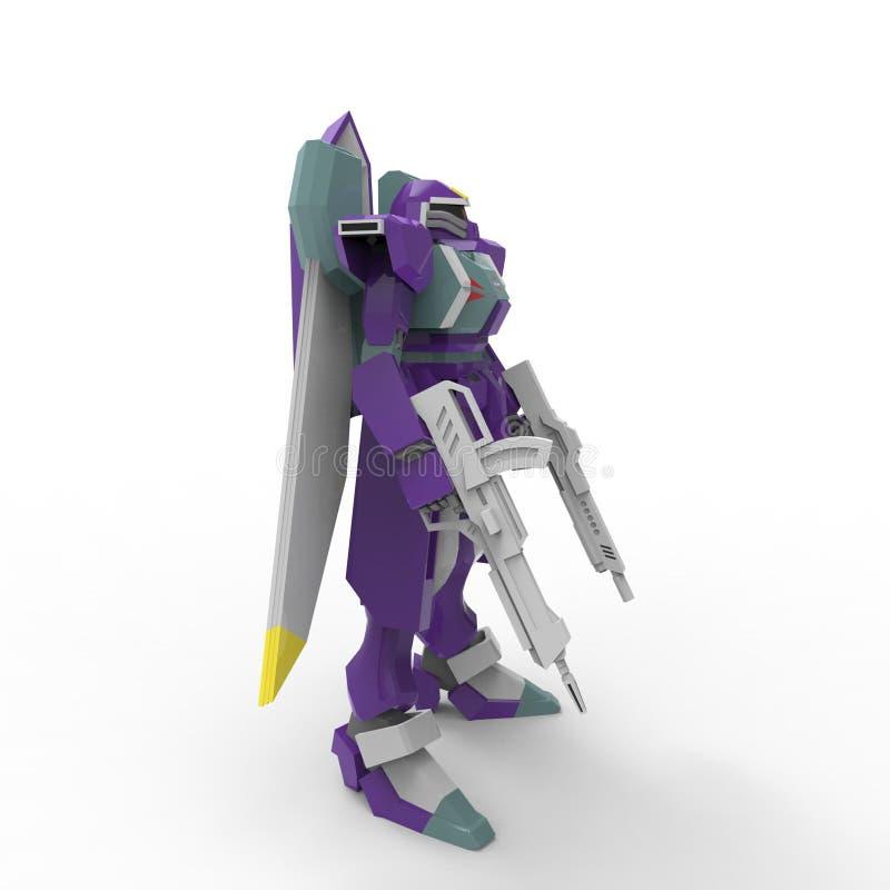 Wiedergabe 3d von den Robotern hergestellt durch die Anwendung eines Mischmaschinenwerkzeugs stock abbildung