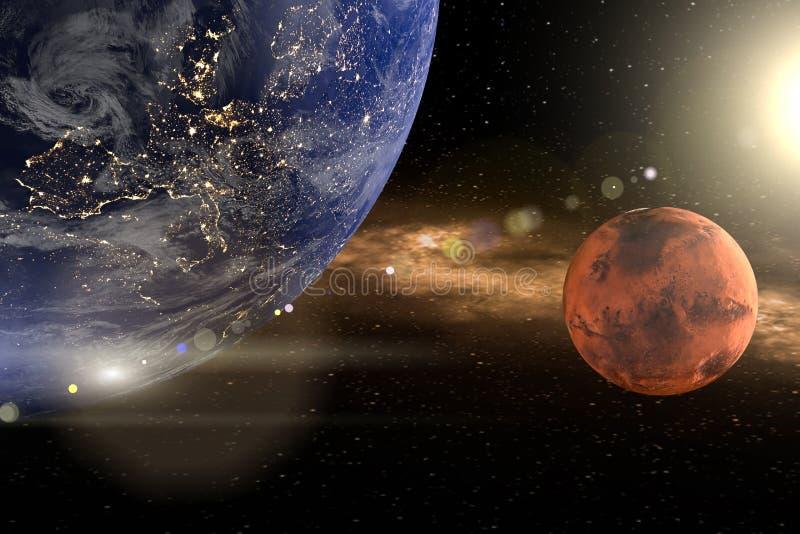 Wiedergabe 3d von der Erde als Nahaufnahme mit den Planeten beschädigt und Sonne im Hintergrund stock abbildung