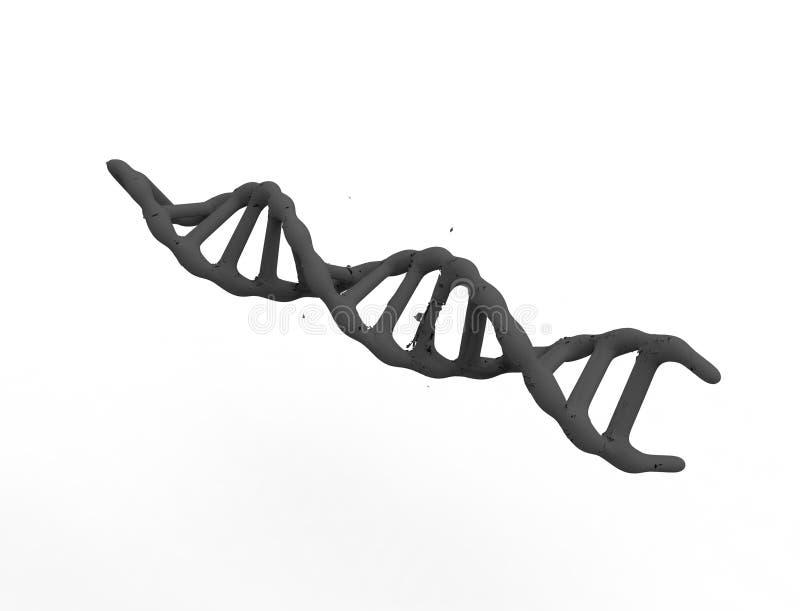 Wiedergabe 3d von DNA-Schnur lokalisiert im weißen Hintergrund lizenzfreie abbildung
