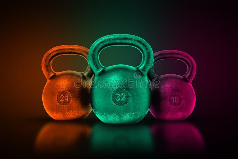 Wiedergabe 3d von drei ähnlichen Metallkesselbällen in den grünen, purpurroten und orange metallischen Farben auf einem schattige stock abbildung