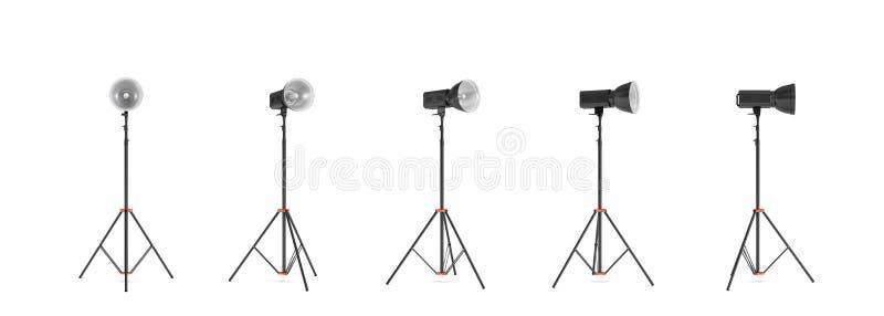 Wiedergabe 3d von drei Lichtern mit Reflektoren mit dem Kopf, der unten gedreht wird und up vektor abbildung