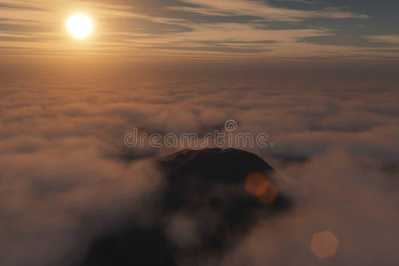 Wiedergabe 3D von einem Flug über einer bewölkten Gebirgslandschaft bei Sonnenaufgang stockfotos