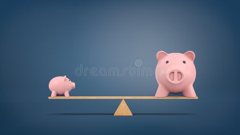 Wiedergabe 3d von einem kleinen Sparschwein in der Seitenansicht steht auf einem hölzernen ständigen Schwanken, das mit einem gro stockfotos