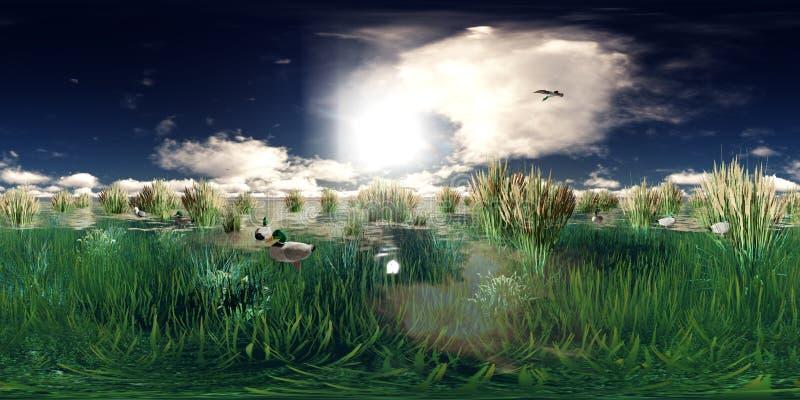 Wiedergabe 3d von einem See mit Fliegen und Schwimmen duckt sich stock abbildung
