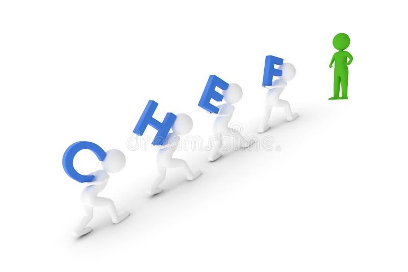 Wiedergabe 3D von einigen Lehmcharakteren, die das Wort CHEF zum grünen Manager auf einen Hügel tragen vektor abbildung