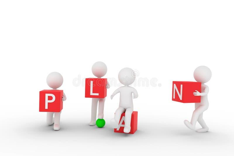 Wiedergabe 3D von einigen Lehmcharakteren, die rote Würfel mit Buchstaben tragen, um das Wort PLAN aufzubauen stock abbildung