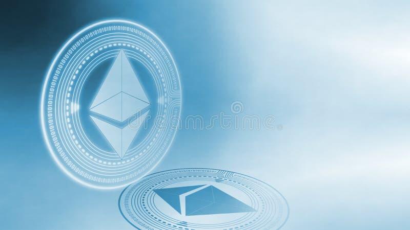 Wiedergabe 3D von ethereum Münze ETH, digitale Währung, die mit weicher weißer Farbe glüht und einen dunklen Schatten der Perspek vektor abbildung