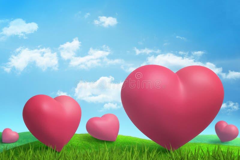 Wiedergabe 3d von fünf großen rosa Herzen auf grüner sonnenbeschiener Wiese unter blauem Himmel mit weißen Wolken lizenzfreie stockbilder