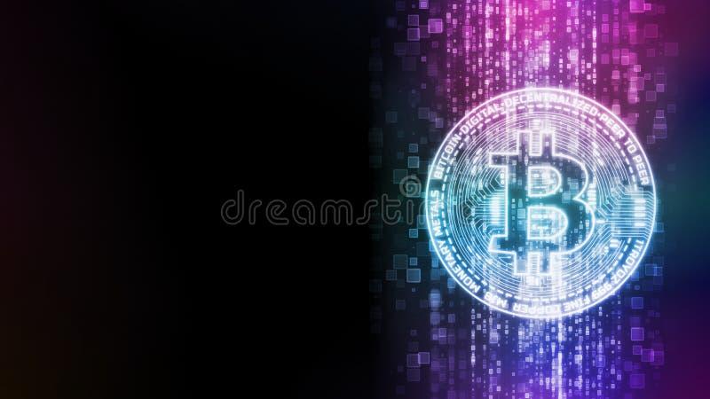 Wiedergabe 3D von glühendem Bitcoin BTC auf abstraktem digitalem Datenflusshintergrund lizenzfreie abbildung