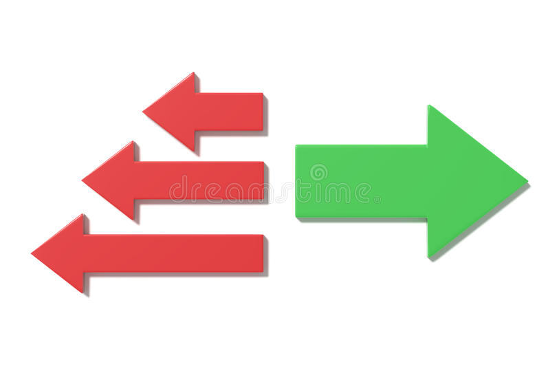 Wiedergabe 3d von grünen und roten Pfeilen in den verschiedenen Richtungen stock abbildung