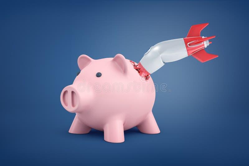 Wiedergabe 3d von großem rosa Sparschwein steht mit einer kleinen Retro- Rakete, die innerhalb seiner Seite gebrochen ist und geh vektor abbildung
