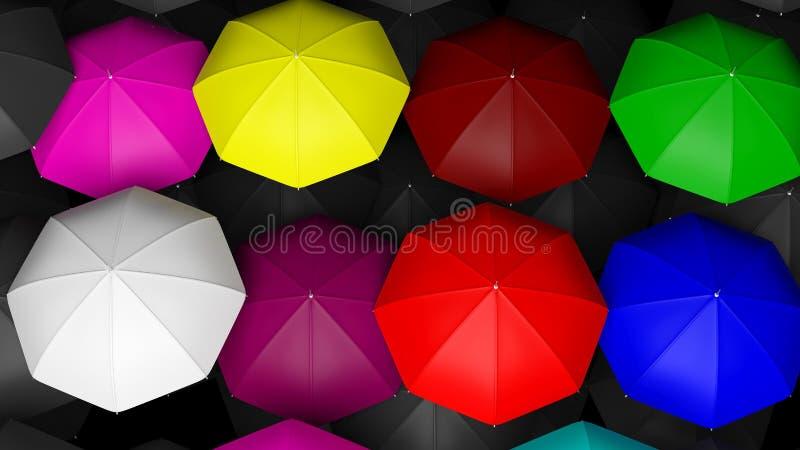 Wiedergabe 3D von großen bunten Regenschirmen lizenzfreie abbildung