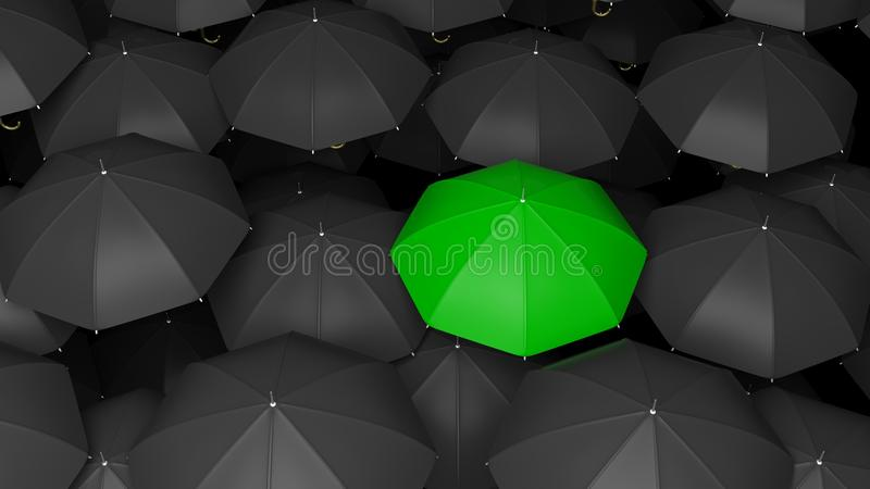 Wiedergabe 3D von klassischen großen schwarzen Regenschirmen übersteigt mit einem Grün lizenzfreie abbildung