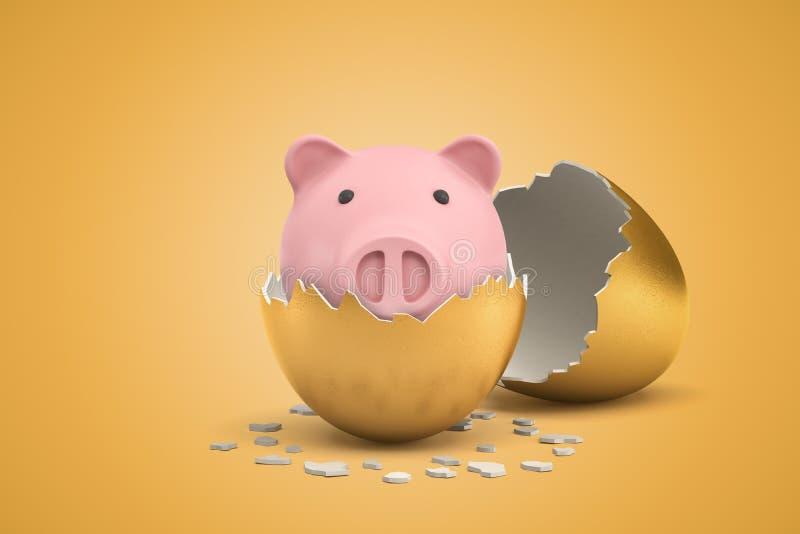 Wiedergabe 3d von nettem rosa Sparschwein, die gerade heraus vom goldenen Ei ausbrütete lizenzfreie abbildung