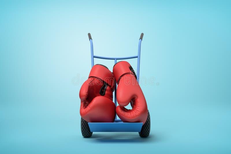 Wiedergabe 3d von Paaren der großen roten Boxhandschuhe auf blauer Hand-LKW-Stellung in der halben Drehung auf hellblauem Hinterg vektor abbildung