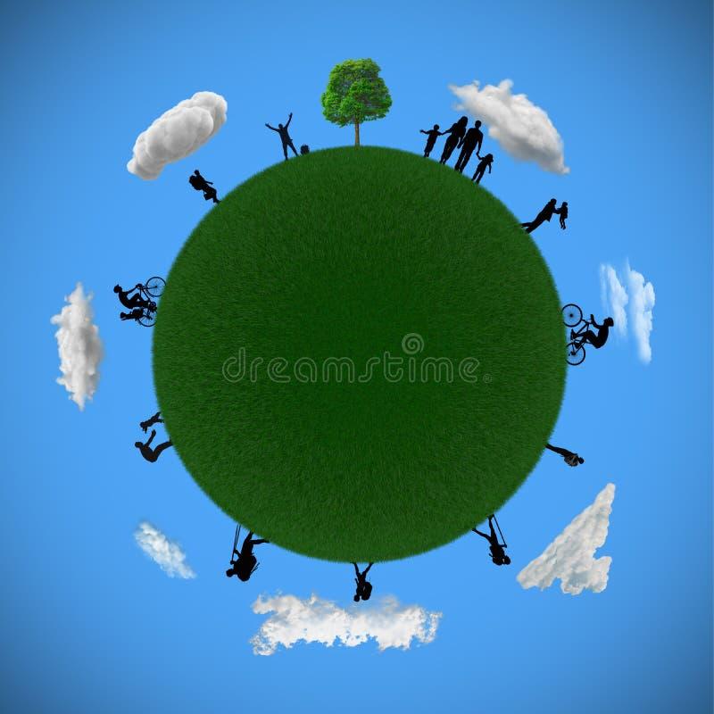 Wiedergabe 3D von Planetenerde, aus Gras mit Schattenbildern von Leuten heraus herum vektor abbildung