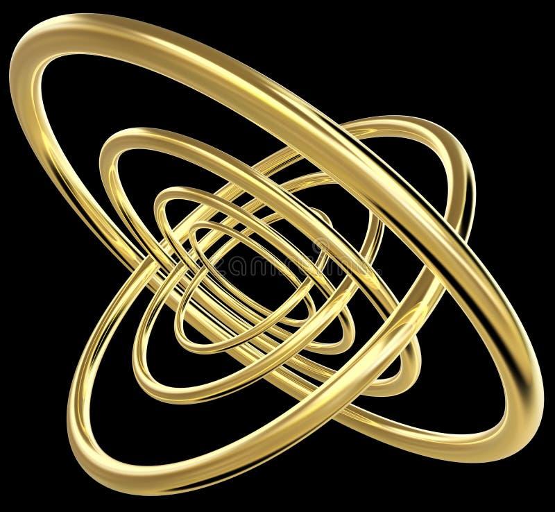 Wiedergabe 3D von sieben konzentrischen goldenen Ringen lizenzfreie abbildung
