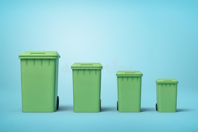 Wiedergabe 3d von vier grünen Abfalleimern in Folge entsprechend Größe von größtem zu kleinstem auf hellblauem Hintergrund stockfoto