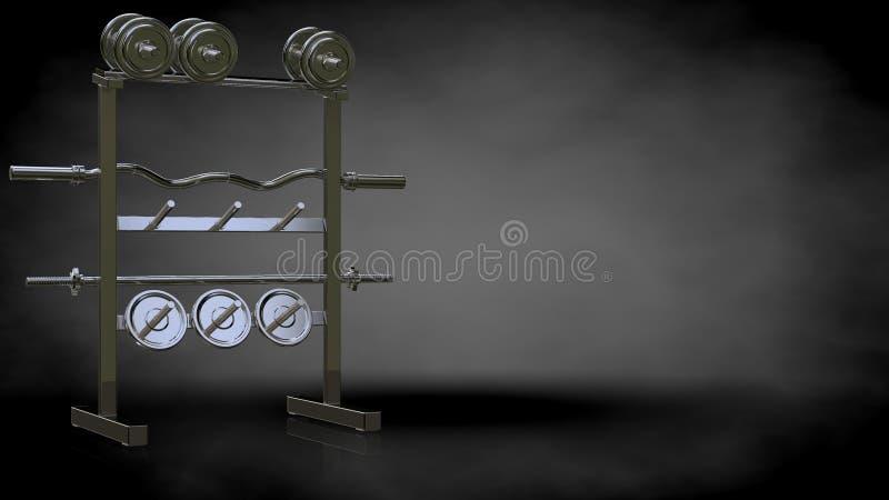 Wiedergabe 3d von Werkzeugen einer metallischen reflektierenden Turnhalle auf einem dunklen backgro stock abbildung