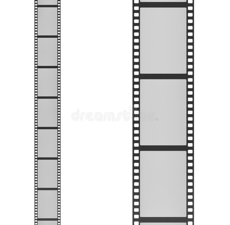 Wiedergabe 3d von zwei Filmstreifen setzte vertikal neben einander ein mit kleinem und das andere mit großen Rahmen stock abbildung