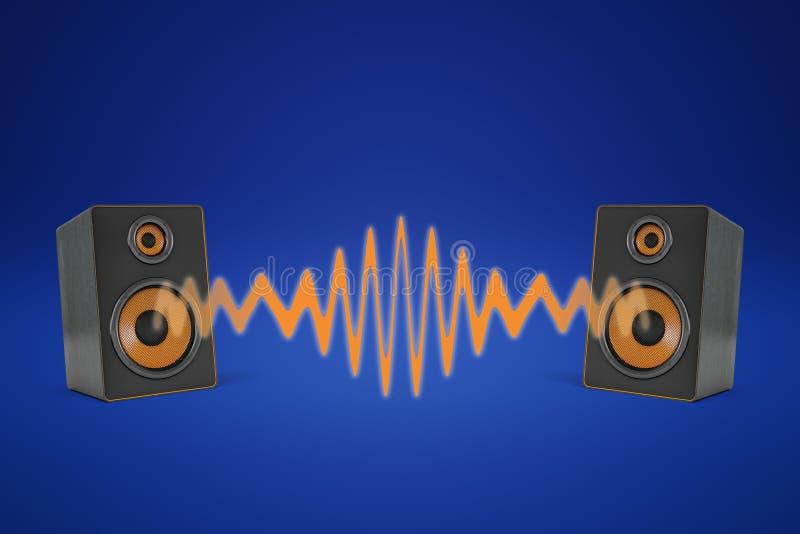 Wiedergabe 3d von zwei Musiksprechern nahe einander und eine orange Schallwelle zwischen ihnen teilend lizenzfreie abbildung