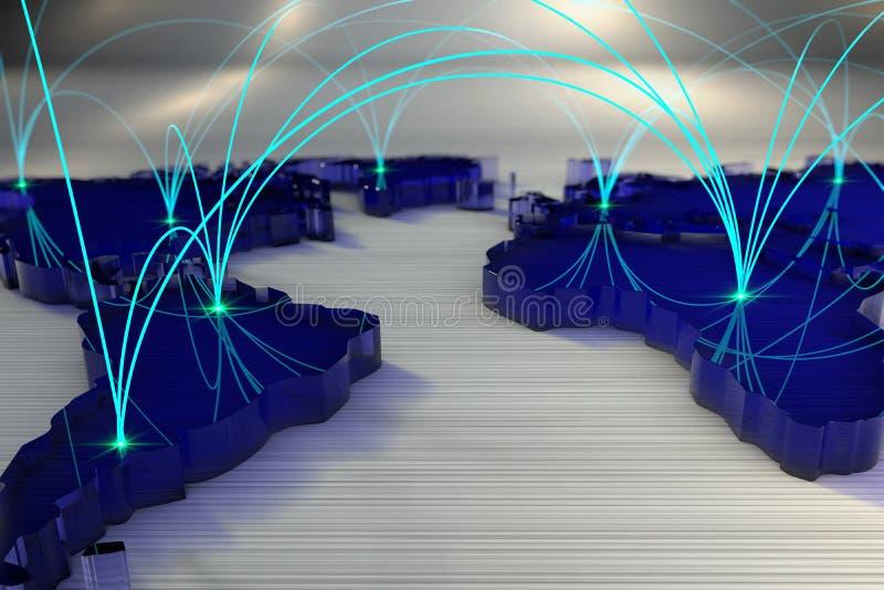 Wiedergabe 3d Weltkarte angeschlossen durch ein Netz von Strahlen vektor abbildung
