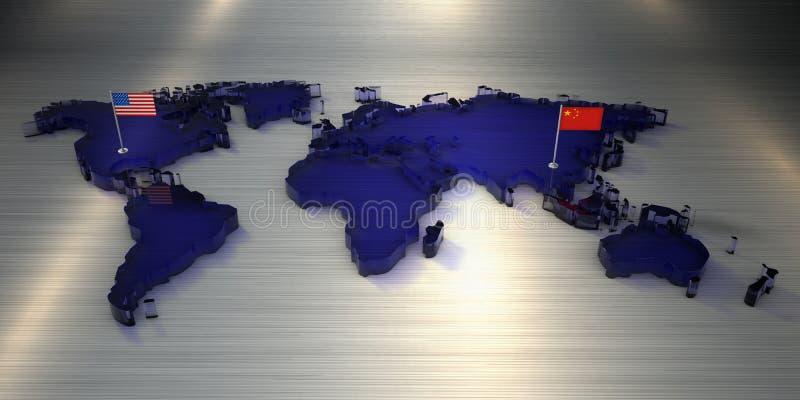 Wiedergabe 3d Weltkarte des Glases mit Flaggen von Amerika und von China lizenzfreie abbildung
