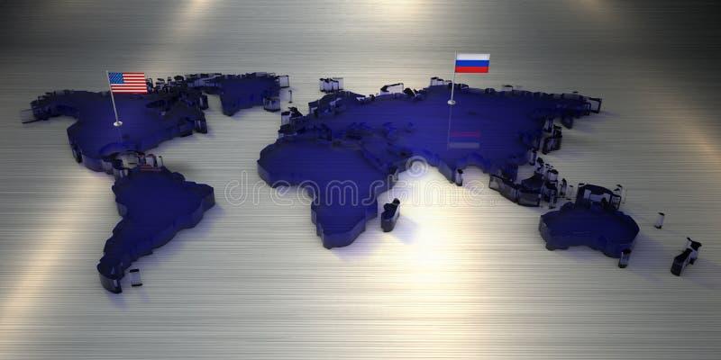 Wiedergabe 3d Weltkarte des Glases mit Flaggen von Amerika und von Russland stockfoto