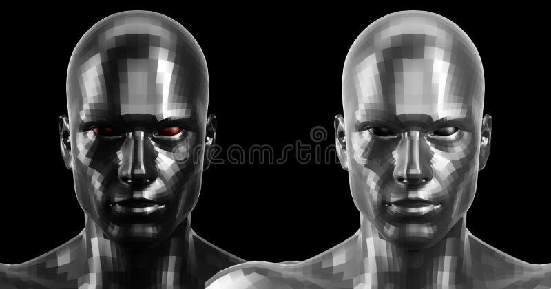 Wiedergabe 3d Zwei facettierte androide Schwarzweiss-Köpfe, die auf Kamera vorder schauen stockfotografie