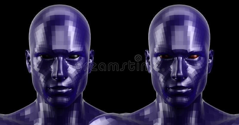 Wiedergabe 3d Zwei facettierten die blauen androiden Köpfe, die auf Kamera vorder schauen stockfotografie
