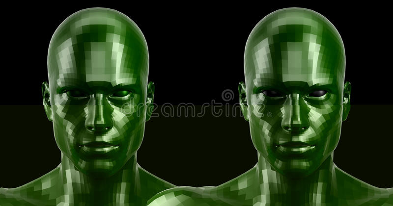 Wiedergabe 3d Zwei facettierten die grünen androiden Köpfe, die auf Kamera vorder schauen lizenzfreies stockfoto
