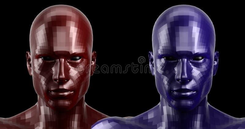 Wiedergabe 3d Zwei facettierten die roten und blauen androiden Köpfe, die auf Kamera vorder schauen lizenzfreie stockfotos