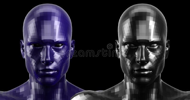 Wiedergabe 3d Zwei schwarz und Blau facettierten die androiden Köpfe, die auf Kamera vorder schauen stockfotografie