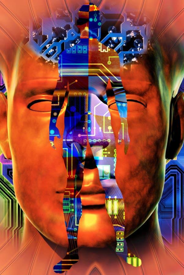 Wiedergabe der Cyborggeschöpfzusammensetzung 3d stock abbildung