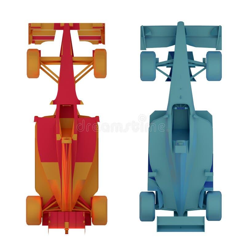 Wiedergabe der Draufsicht 3d des Rennwagens der Formel 1 lizenzfreie abbildung