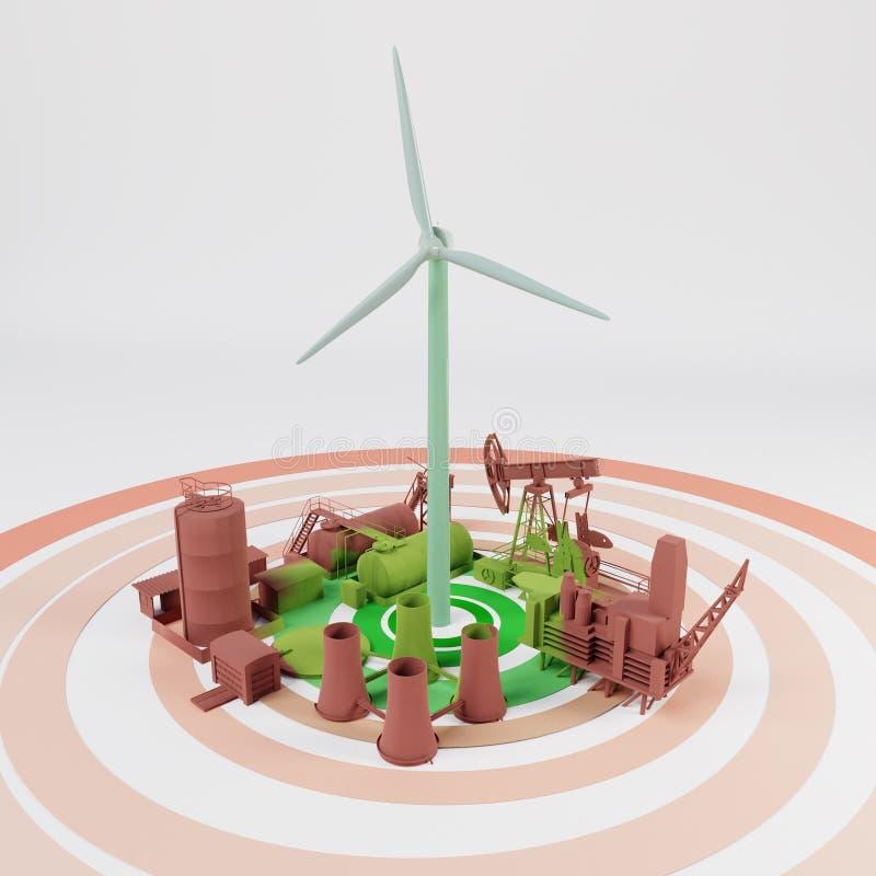 Wiedergabe der Expansion 3D der Wind-erneuerbaren Energie stock abbildung