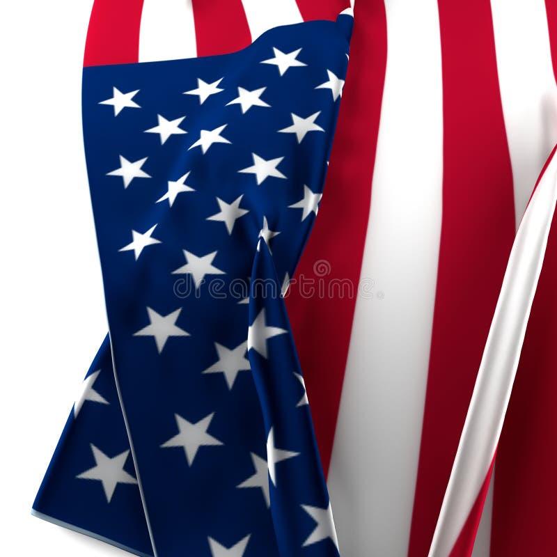 Wiedergabe der Illustration 3D Amerikanische Flagge Hohe ausführliche Beschaffenheit des gewellten Gewebes vektor abbildung