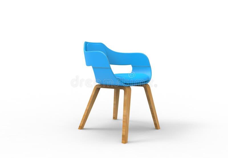 Wiedergabe der Illustration 3D eines ledernen Entwurfsstuhls der hellblauen Runde lizenzfreie abbildung