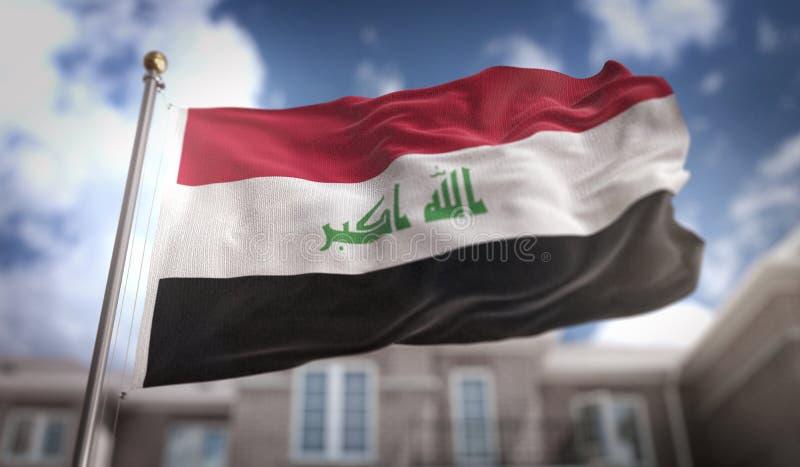 Wiedergabe der Irak-Flaggen-3D auf blauer Himmel-Gebäude-Hintergrund lizenzfreies stockbild