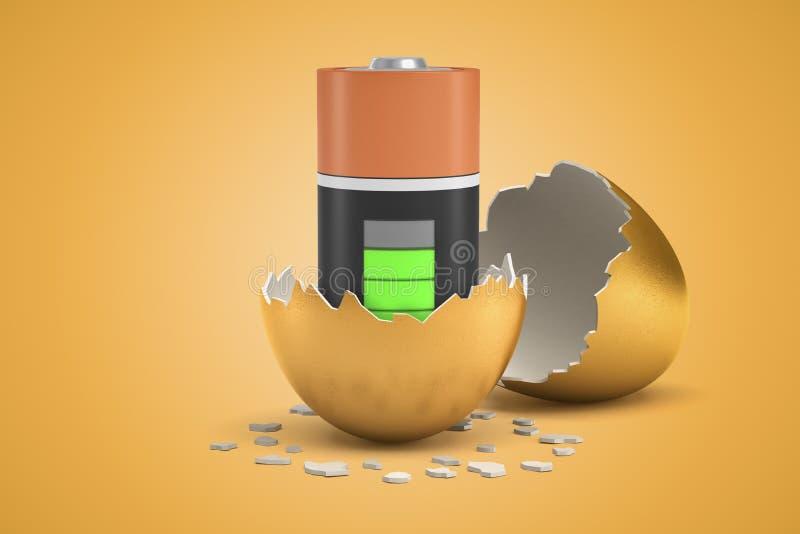 Wiedergabe der Nahaufnahme 3d der fast vollen Batterie, die gerade heraus vom goldenen Ei ausbrütete lizenzfreie stockfotos